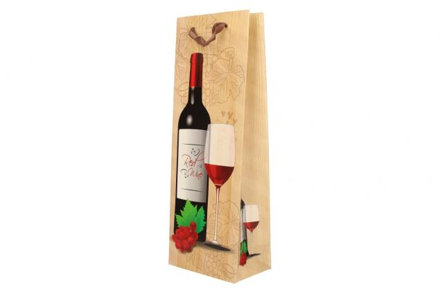 Foto 5 - Dárková taška na víno s dřevěným pozadím  36x12 cm