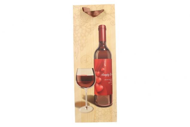 Foto 6 - Dárková taška na víno s dřevěným pozadím  36x12 cm