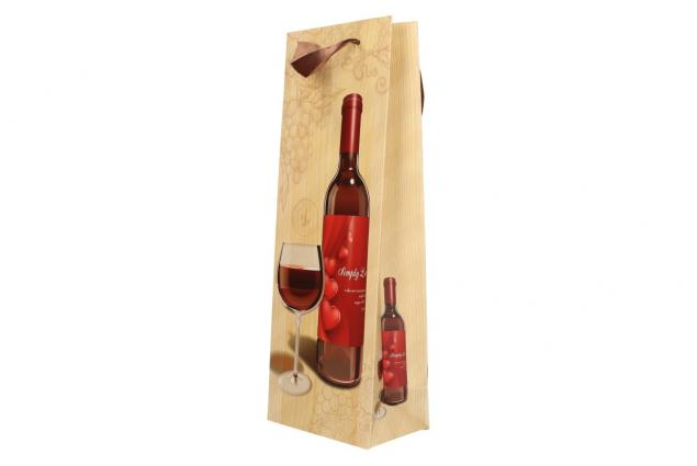 Foto 7 - Dárková taška na víno s dřevěným pozadím  36x12 cm