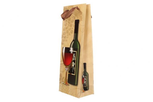 Foto 9 - Dárková taška na víno s dřevěným pozadím  36x12 cm