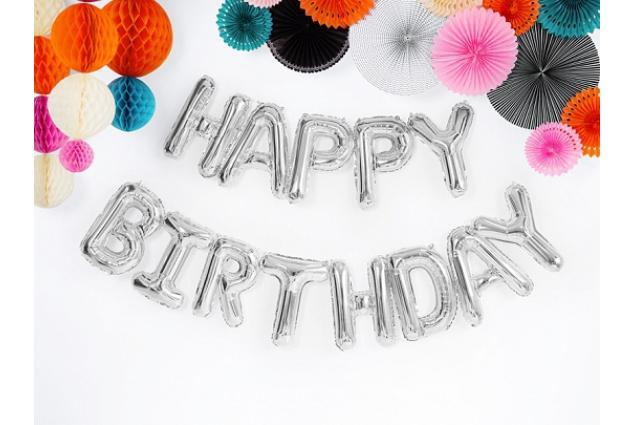 Foto 2 - Balónky Happy Birthday S 17´´ Stříbrné