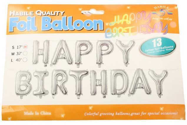 Foto 3 - Balónky Happy Birthday S 17´´ Stříbrné