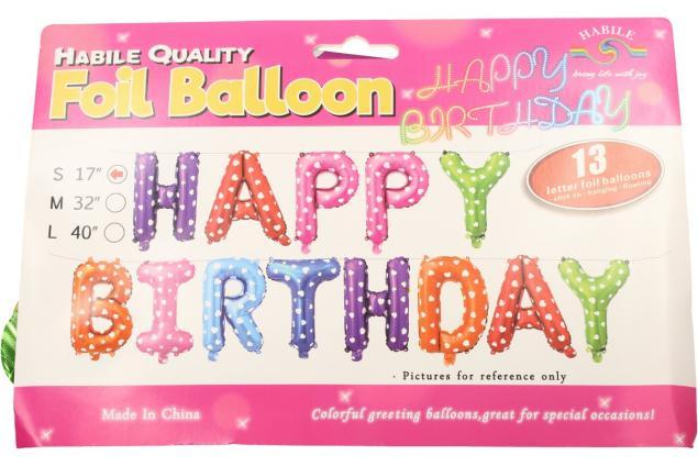 Foto 3 - Balónky Happy Birthday S 17´´ Barevné