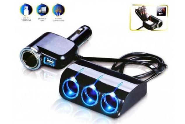 Foto 13 - Roztrojka autozapalovače s LED světlem a USB