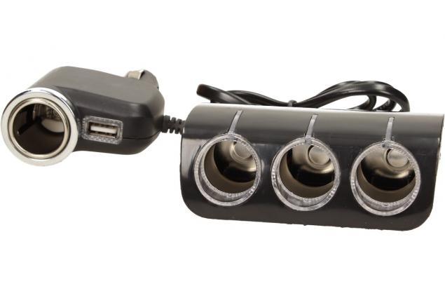 Foto 9 - Roztrojka autozapalovače s LED světlem a USB