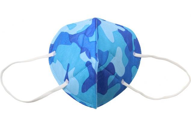 Foto 3 - Respirátor FFP2/KN95, respirační rouška maskáčová modrá