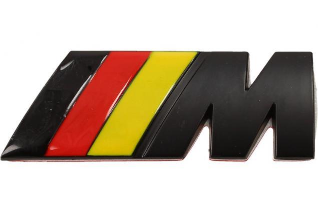 Foto 2 - Kovová samolepka M černá (červená, žlutá) 3 x 8 cm