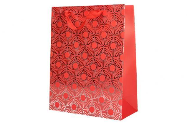Foto 3 - Dárková taška Kytky červená 23x18 cm