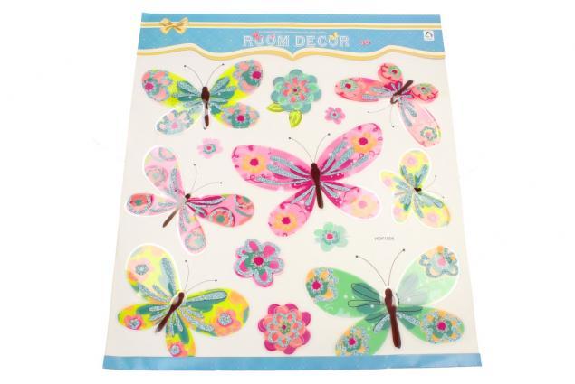 Foto 2 - 3D samolepky na zeď mix barevných motýlů