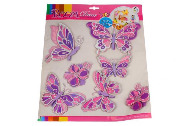 Foto 3 - 3D samolepky na zeď růžoví motýli