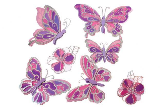 Foto 2 - 3D samolepky na zeď růžoví motýli