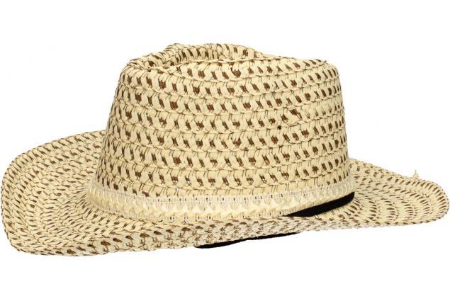Foto 3 - Slaměný kovbojský klobouk béžový s pleteným páskem