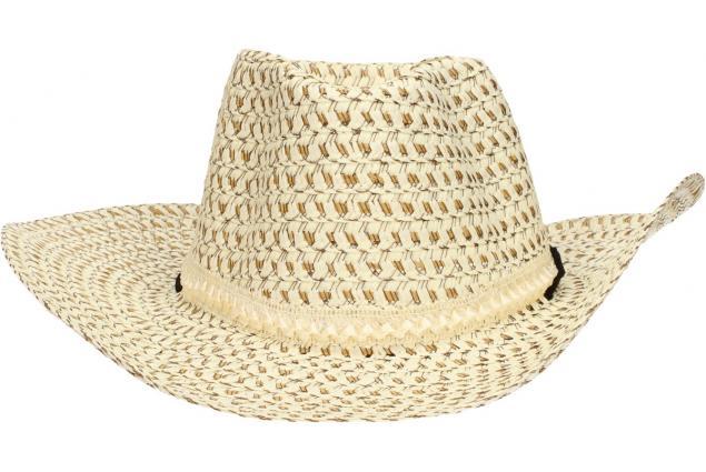 Foto 5 - Slaměný kovbojský klobouk béžový s pleteným páskem
