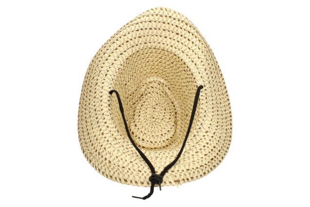 Foto 4 - Slaměný kovbojský klobouk béžový s pleteným páskem