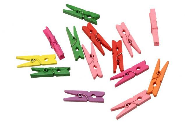 Foto 2 - Dřevěné barevné mini kolíčky sada 15 kusů