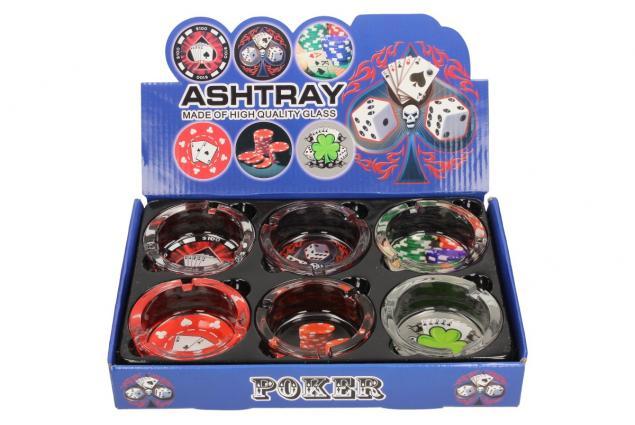 Foto 2 - Skleněný kulatý popelník Poker