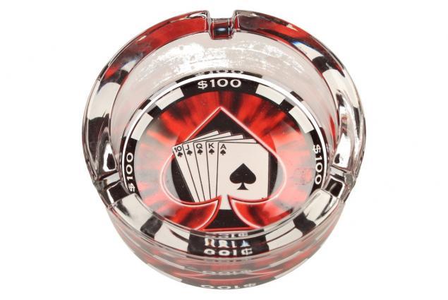 Foto 4 - Skleněný kulatý popelník Poker