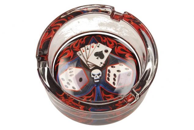 Foto 5 - Skleněný kulatý popelník Poker
