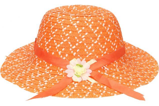 Foto 2 - Dětský klobouk s kytičkou oranžový