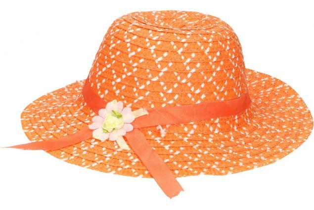 Foto 3 - Dětský klobouk s kytičkou oranžový