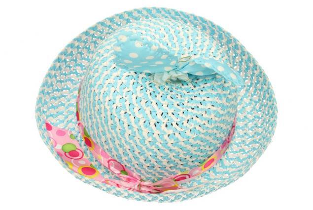 Foto 2 - Dětský klobouk s mašličkou modrý