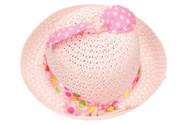 Foto 2 - Dětský klobouk s mašličkou světle růžový