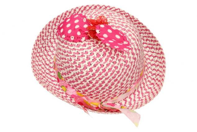 Foto 2 - Dětský klobouk s mašličkou tmavě růžový