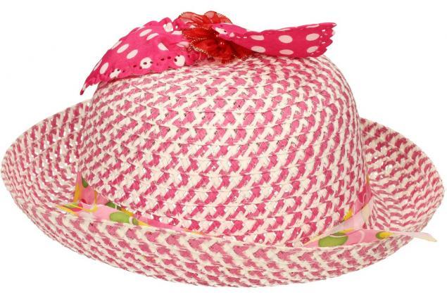 Foto 3 - Dětský klobouk s mašličkou tmavě růžový