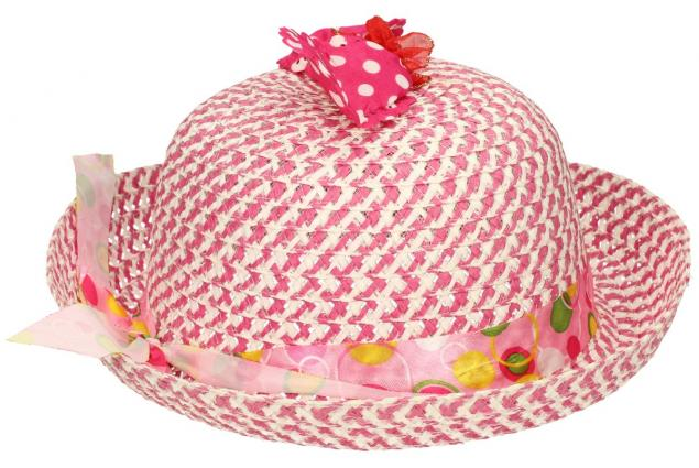 Foto 4 - Dětský klobouk s mašličkou tmavě růžový