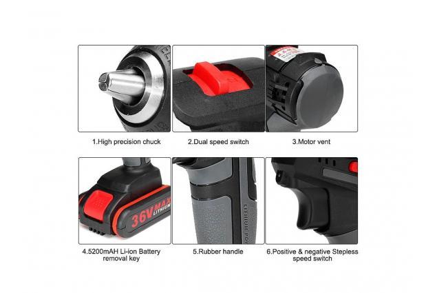 Foto 5 - Aku vrtačka Drillpro 21V s příklepem včetně 2 kusů 36Vf baterií