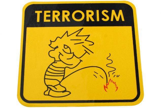 Foto 2 - Samolepka Terrorism žlutá 12 x 12 cm