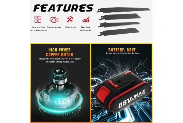 Foto 9 - Aku přímočará elektrická pila Ocaska včetně 2x baterie 88Vf