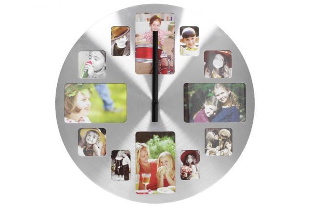 Foto 4 - Hliníkové nástěnné hodiny s fotorámečky