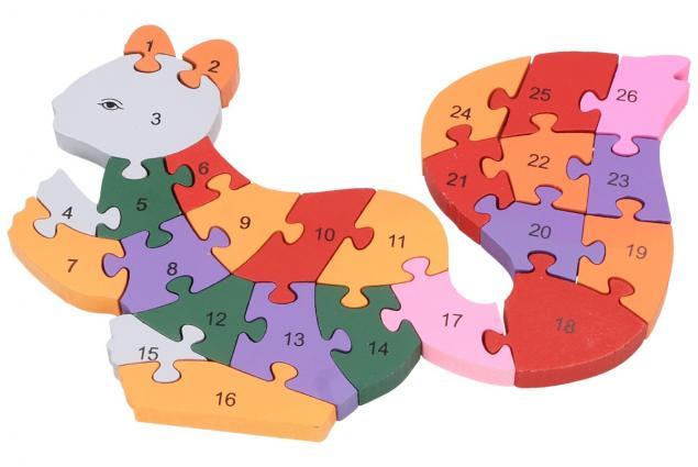 Foto 2 - Dřevěné puzzle barevná veverka 26 dílků