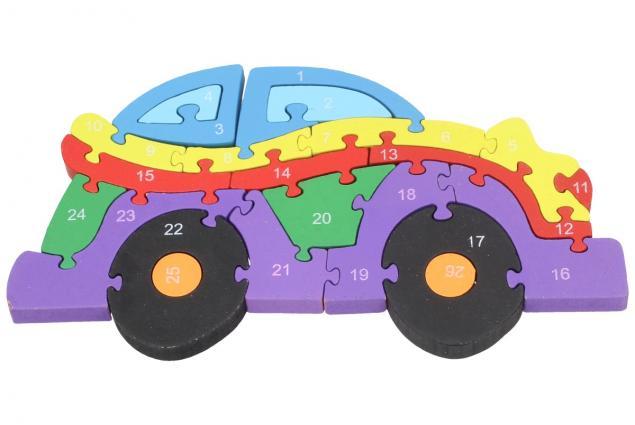 Foto 2 - Dřevěné puzzle barevné auto 26 dílků