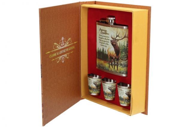 Foto 11 - Dárková sada placatka s jelenem design Kniha 200 ml
