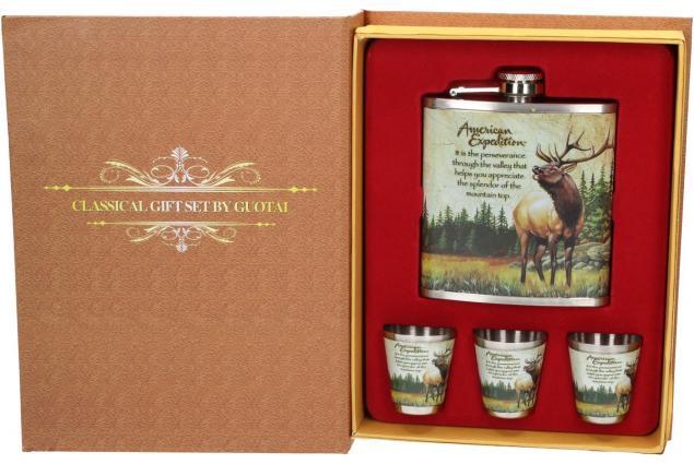 Foto 9 - Dárková sada placatka s jelenem design Kniha 200 ml