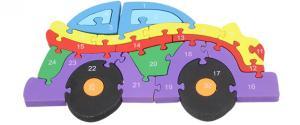 Dřevěné puzzle barevné auto 26 dílků