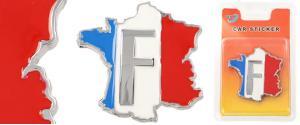Kovová samolepka Francie 5,5 x 6 cm