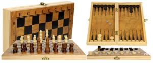 Šachový kufřík s hrací deskou na šachy a dámu velký