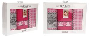 Zwoltex dárková sada kuchňských utěrek 3 kusy růžová