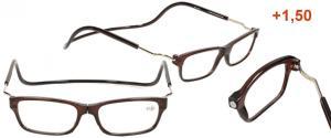 Dioptrické brýle s magnetem hnědé +1,50