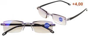 Dioptrické brýle s antireflexní vrstvou černé +4,00
