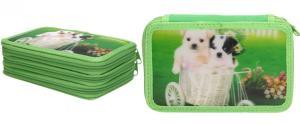 Třípatrový plně vybavený penál 3D Zelený