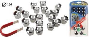 Sada ozdobných krytů pro šrouby kol stříbrné 19 mm 20 kusů