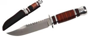 Hobby lovecký nůž s pilkou v dřevěném designu 26 cm