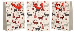 Dárková vánoční taška bílá se soby 24x18 cm