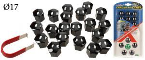 Sada ozdobných krytů pro šrouby kol černé 17 mm 20 ks