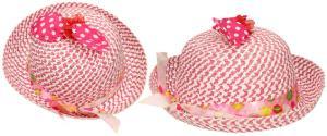 Dětský klobouk s mašličkou tmavě růžový