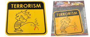 Samolepka Terrorism žlutá 12 x 12 cm